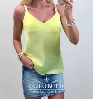 Kollane õlapaeltega pluus