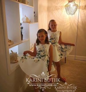 Laste kleit valge/roheline